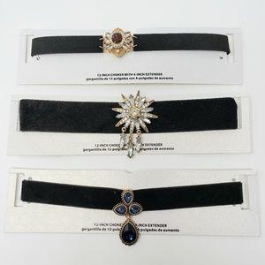 Lot of 3 Rhinestones Velvet Chokers Necklaces